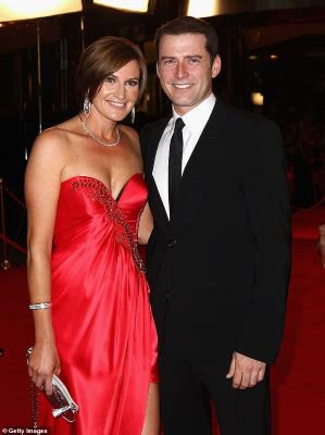 Karl Stefanovic wearing a red dress standing next to a woman: Backlash: Today's ratings began a steep decline in 2016, after Karl left his wife-of-21-years Cassandra Thorburn (left) and began dating a younger woman - fashion designer Jasmine Yarbrough - later that year. Pictured in May 2011