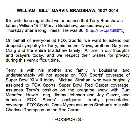Fox analyst Terry Bradshaw will miss the Super Bowl following the death of his father