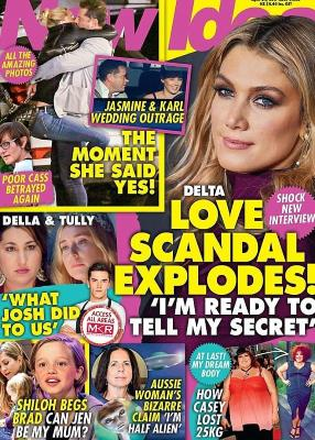 Delta Goodrem et al. posing for the camera: The LAX photos were first published by New Idea, which is owned by Nine's commercial rivals Seven West Media, and were accompanied by the headline 'The moment she said yes!'