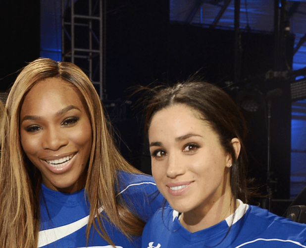 Meghan Markle and Serena Williams at a charity football game.