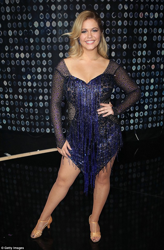 Looking great! The actress is seen here in mid September wearing a sparkly costume for DWTS