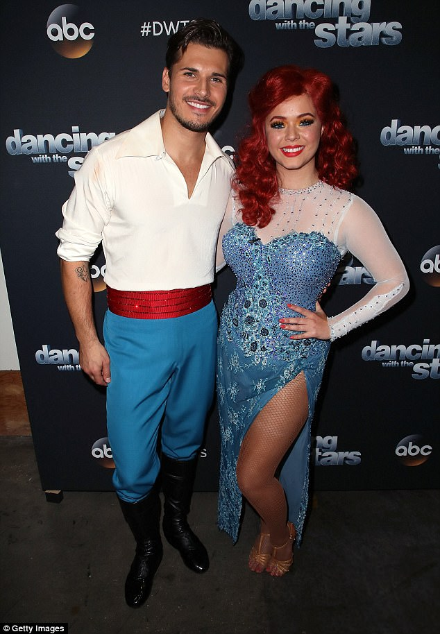Slender lady:Sasha Pieterse has lost a lot of weight since starting Dancing With The Stars. Seen on Monday with partnerGleb Savchenko