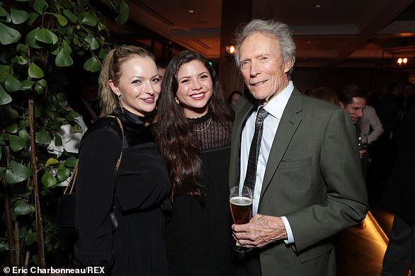 The pair married three years later in 1996 and Dina gave birth to their daughter Morgan (pictured with Eastwood and Francesca) that same year