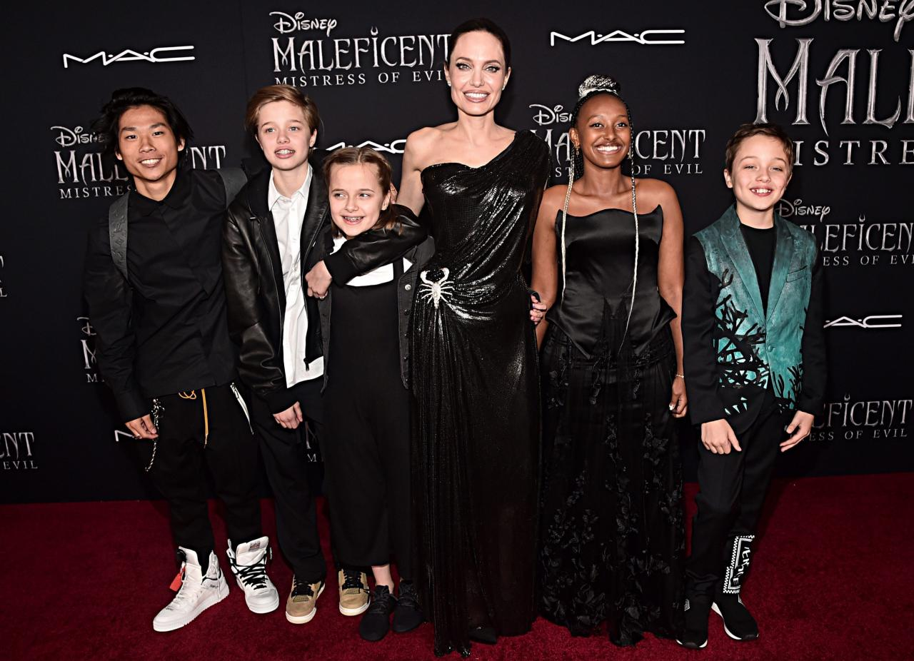 Five of Angie's six children came out to support her during the release of Maleficent 2