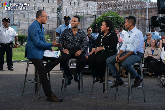 """MSNBC SPECIALS -- Lester Holt Town Hall """"Justice For All"""" -- Pictured: (l-r) -- (Photo by: Peter Kramer/MSNBC)"""