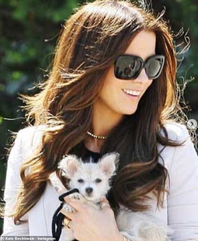So sad:Alongside sweet snaps with her adorable pooch on Instagram, the actress, 47, wrote: 'Fly safe our sweetest sweetest girl' in a heartwarming tribute