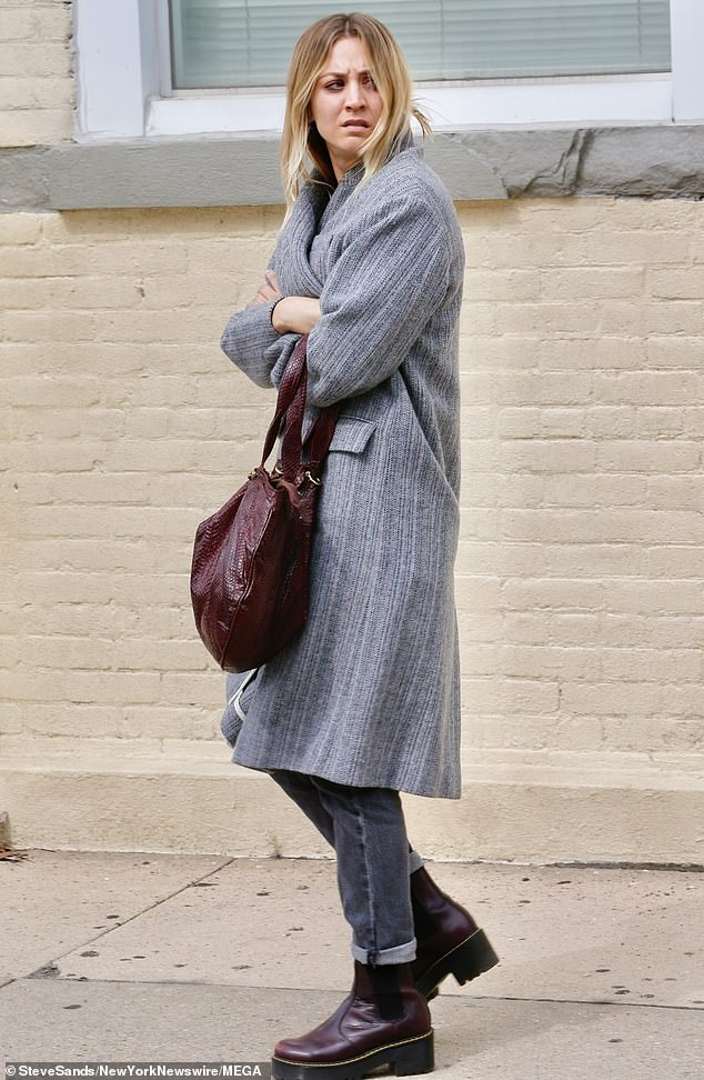 Character look:The 34-year-old actress was seen in the same outfit she was spotted filming in earlier in the week