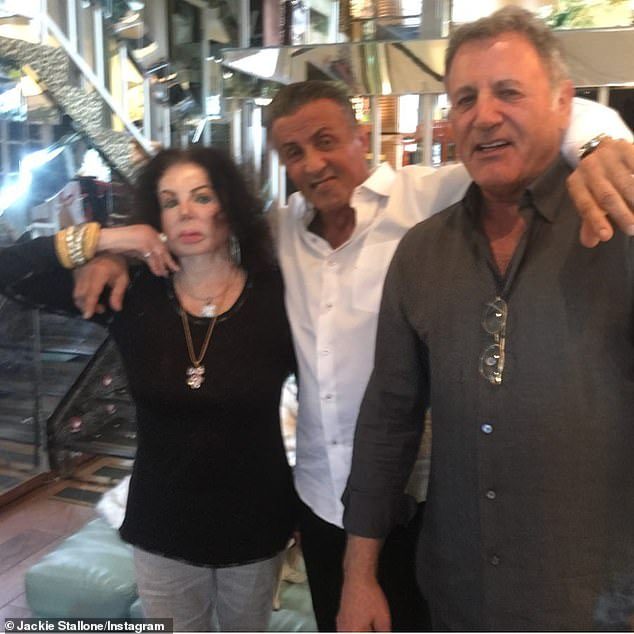 Sons: She also leaves behind sons Sylvester, 74, and Frank, 70; Jackie, Sylvester and Frank pictured in 2019