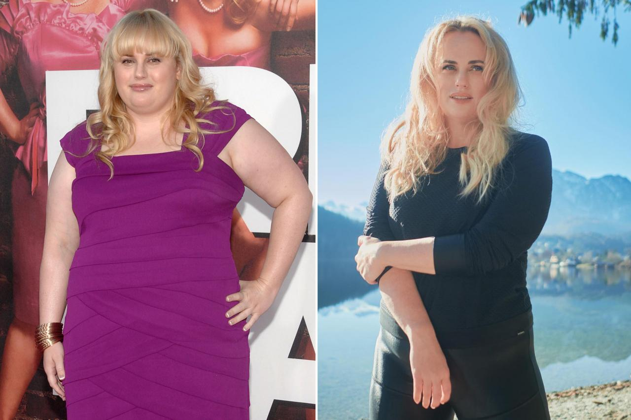 """Rebel Wilson is opening up about the differences in her life post weight loss. Seen here at the """"Bridesmaids"""" premiere in 2011 (L) and in an Instagram post from December, 2020."""