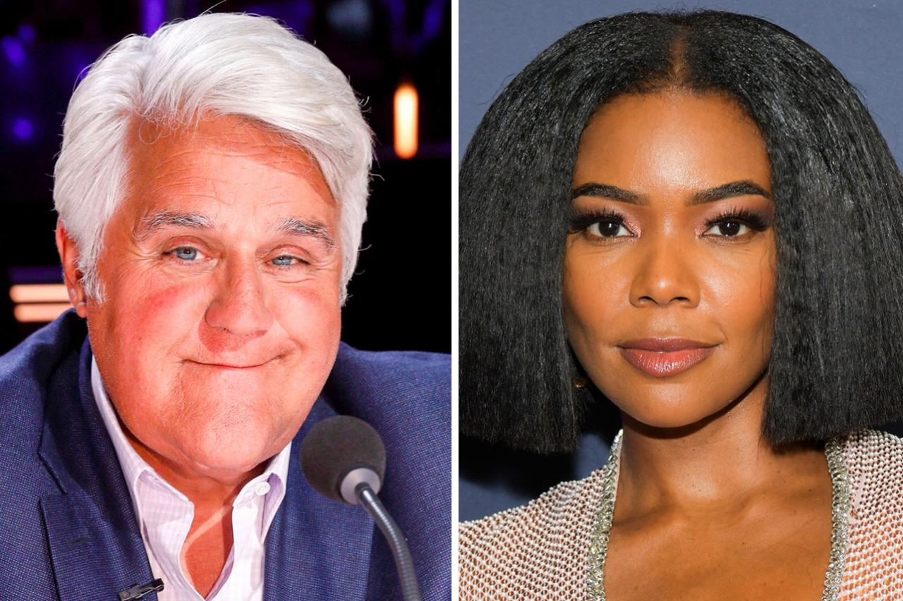 side-by-side of Jay Leno and Gabrielle Union