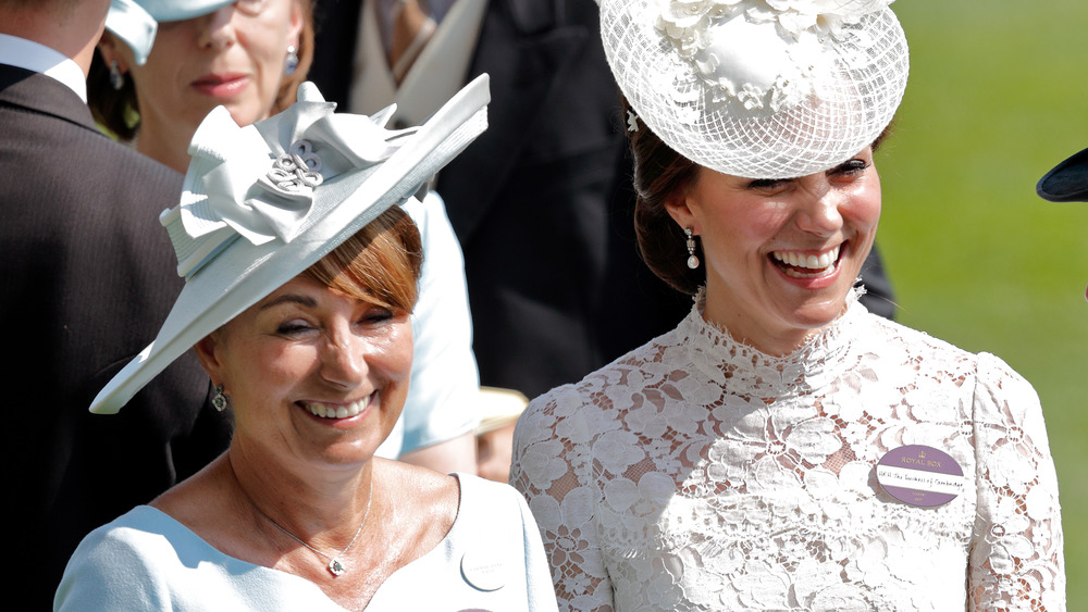 Kate Middleton smiling with mom Carole Middleton