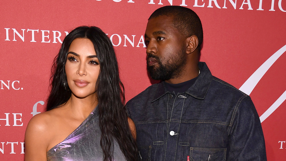 Kim Kardashian and West looking serious at the 2019 FGI Night Of Stars Gala