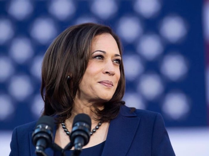 Kamala Harris speaking at a event on January 10th, 2021.