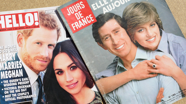 Prince Harry, Meghan Markle, Prince Charles, Princess Diana, all in magazines